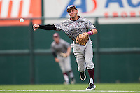 Texas A&M Aggies shortstop Mikey Reynolds #16 throws to first during the NCAA baseball game against the Texas Longhorns on April 29, 2012 at UFCU Disch-Falk Field in Austin, Texas. The Longhorns beat the Aggies 2-1 in the last ever regular season game scheduled for the long time rivals. (Andrew Woolley / Four Seam Images)