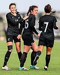 Claudia Bunge and Michaela Foster celebrate a goal. OFC U-19 Women's Championship 2017, New Zealand v Fiji, Ngahue Reserve Auckland, Tuesday 11th July 2017. Photo: Simon Watts / www.bwmedia.co.nz