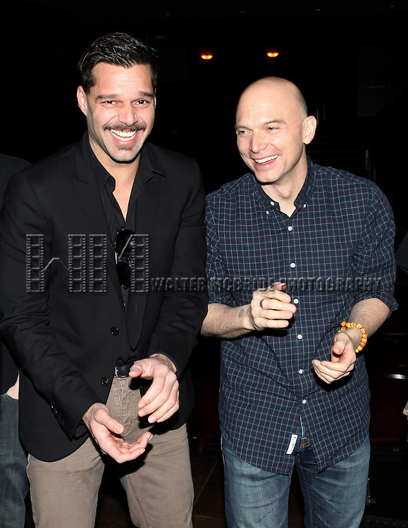 Ricky Martin & Michael Cerveris.attending the Broadway Opening Night Actors' Equity Gypsy Robe Ceremony for recipient Matt Wall in 'EVITA' at the Marquis Theatre in New York City on 4/6/2012