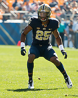 Pitt defensive back Pat Amara Jr.. The Pitt Panthers football team defeated the Virginia Cavaliers 26-19 on Saturday October 10, 2015 at Heinz Field, Pittsburgh, Pennsylvania.