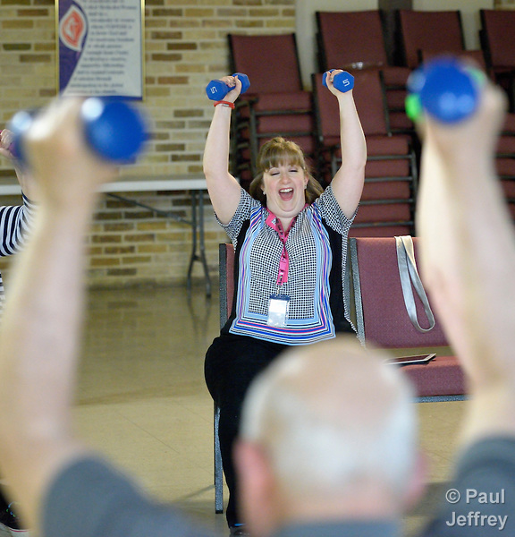 Donnelle Storrs, a faith community nurse at Chapel Hill United Methodist Church in San Antonio, Texas, leads an exercise group at the church.
