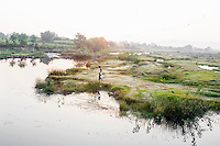 A man walks near a pond in the Panna Tiger Reserve in Madhya Pradesh.