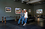 Robert Landau with Benedicte Supplis  at Installatoin of Rock N Roll Billboards exhibtion at the Photo House Gallery in Brussels