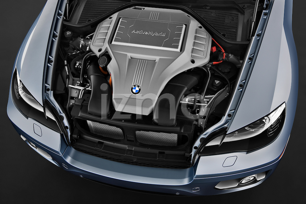 High angle engine detail of a 2010 BMW Active Hybrid X6.