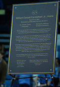 The plaque that will be placed outside of Carmichael Arena. (Photo by Rob Rowe)