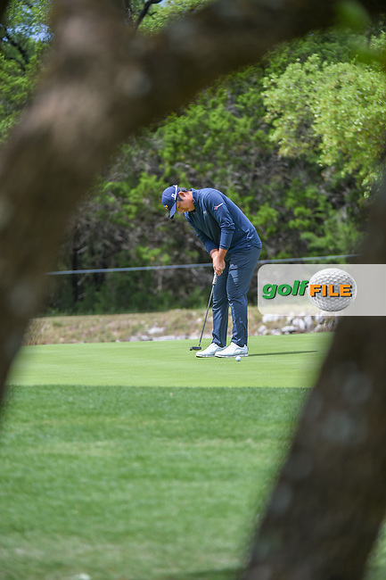 Byeong Hun An (KOR) watches his putt on 12 during day 4 of the Valero Texas Open, at the TPC San Antonio Oaks Course, San Antonio, Texas, USA. 4/7/2019.<br /> Picture: Golffile | Ken Murray<br /> <br /> <br /> All photo usage must carry mandatory copyright credit (© Golffile | Ken Murray)