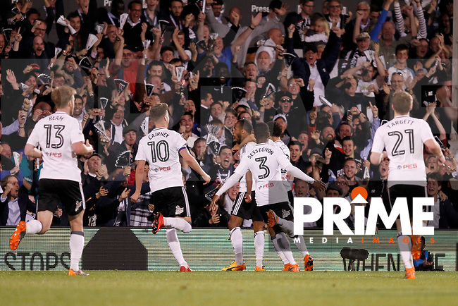 GOAL - Denis Odoi of Fulham is the scorer during the Sky Bet Championship play off semi final 2nd leg match between Fulham and Derby County at Craven Cottage, London, England on 15 May 2018. Photo by Carlton Myrie / PRiME Media Images.