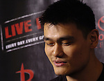 Houston Rocket Yao Ming talks to the media at the Toyota Center Friday June 16,2006.