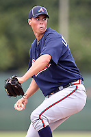 GCL Braves pitcher Frank Lafreniere #74 during a game against the GCL Phillies at the Carpenter Complex on June 22, 2011 in Clearwater, Florida.  The Braves defeated the Phillies 8-6.  (Mike Janes/Four Seam Images)