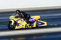 Nov. 10, 2012; Pomona, CA, USA: NHRA pro stock motorcycle rider Wesley Wells during qualifying for the Auto Club Finals at at Auto Club Raceway at Pomona. Mandatory Credit: Mark J. Rebilas-