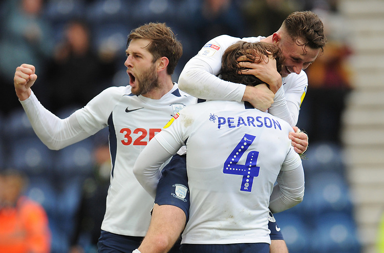 Preston North End's Ben Pearson celebrates scoring his side's fourth goal with team-mate Alan Browne and Tom Barkhuizen<br /> <br /> Photographer Kevin Barnes/CameraSport<br /> <br /> The EFL Sky Bet Championship - Preston North End v Barnsley - Saturday 5th October 2019 - Deepdale Stadium - Preston<br /> <br /> World Copyright © 2019 CameraSport. All rights reserved. 43 Linden Ave. Countesthorpe. Leicester. England. LE8 5PG - Tel: +44 (0) 116 277 4147 - admin@camerasport.com - www.camerasport.com