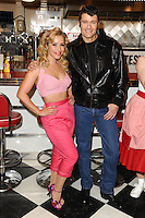 "Heidi Range, Ben Freeman at the photocall for ""Happy Days The Musical"" at Ed's Easy Diner, Trocadero, London. 08/01/2014 Picture by: Steve Vas / Featureflash"