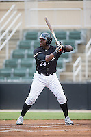 KJ Woods (24) of the Kannapolis Intimidators at bat against the Delmarva Shorebirds at Kannapolis Intimidators Stadium on June 23, 2016 in Kannapolis, North Carolina.  The game was suspended in the bottom of the 4th inning due to rain.  (Brian Westerholt/Four Seam Images)