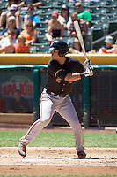 Joe Panik (2) of the Fresno Grizzlies at bat against the Salt Lake Bees at Smith's Ballpark on May 26, 2014 in Salt Lake City, Utah.  (Stephen Smith/Four Seam Images)