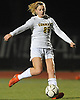 Lauren Maline #25 of Commack moves the ball downfield during Game 2 of two Long Island varsity girls soccer senior all-star games at Farmingdale State College on Friday, Nov. 24, 2017.