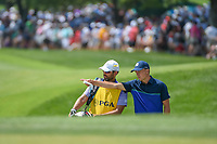 Jordan Spieth (USA) talks with his caddie, Michael Greller near the green on 8 during 3rd round of the 100th PGA Championship at Bellerive Country Club, St. Louis, Missouri. 8/11/2018.<br /> Picture: Golffile | Ken Murray<br /> <br /> All photo usage must carry mandatory copyright credit (&copy; Golffile | Ken Murray)