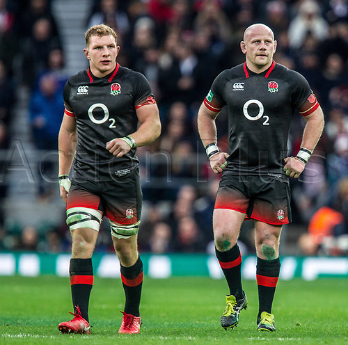 11th November 2017, Twickenham Stadium, London, England; Autumn International Series, England versus Argentina;  Sam Underhill and Dan Cole in action for England