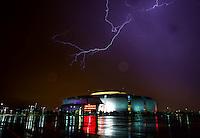Aug 19, 2014; Glendale, AZ, USA; Lightning is visible over University of Phoenix Stadium , home of the Arizona Cardinals during a monsoon storm. Mandatory Credit: Mark J. Rebilas-USA TODAY Sports