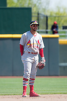Greg Garcia (5) of the Memphis Redbirds on defense against the Omaha Storm Chasers in Pacific Coast League action at Werner Park on April 22, 2015 in Papillion, Nebraska.  (Stephen Smith/Four Seam Images)