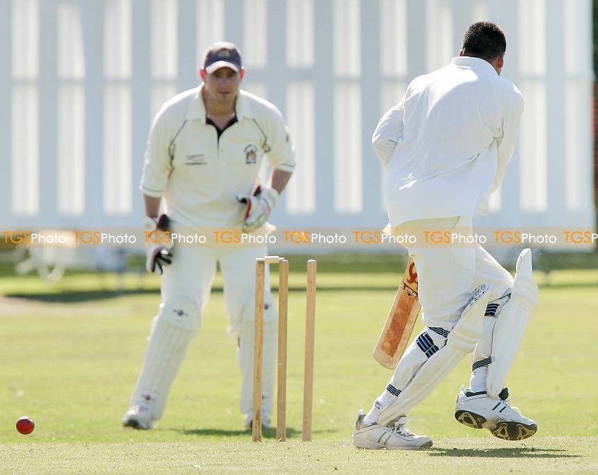 S Afzal of Noak Hill gets in a tangle and is bowled by P Crane - Noak Hill Taverners CC vs Hornchurch Athletic CC - Lords International Cricket League -  04/08/07 - MANDATORY CREDIT: Gavin Ellis/TGSPHOTO - SELF-BILLING APPLIES WHERE APPROPRIATE. NO UNPAID USE. TEL: 0845 094 6026..
