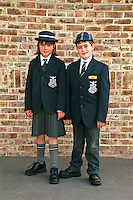 Schoolboy and Schoolgirl in their school uniform including cap blazer and shirt and tie. This image may only be used to portray the subject in a positive manner..©shoutpictures.com..john@shoutpictures.com