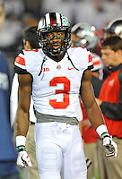 25 October 2014:  Ohio State WR Michael Thomas (3). The Ohio State Buckeyes defeated the Penn State Nittany Lions 31-24 in 2 OTs at Beaver Stadium in State College, PA.