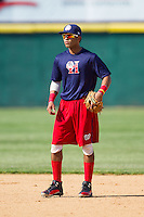 Wilmer Difo (6) of the Hagerstown Suns waits for a ground ball during infield practice prior to the game against the Hickory Crawdads at L.P. Frans Stadium on May 7, 2014 in Hickory, North Carolina.  The Suns defeated the Crawdads 4-2.  (Brian Westerholt/Four Seam Images)