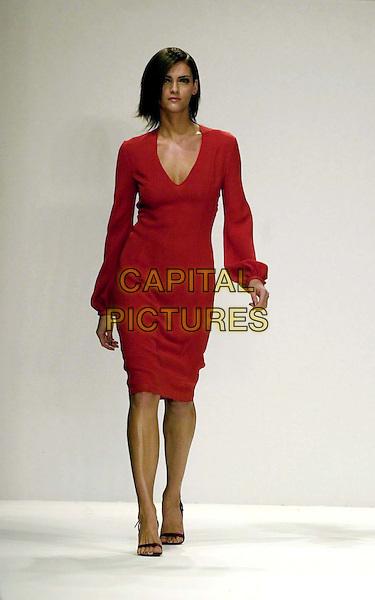 MODEL.London Fashion Week, Ben de Lisi Fashion Show.Ref: JAV.red dress, catwalk, model, full length, full-length.www.capitalpictures.com.sales@capitalpictures.com.© Capital Pictures