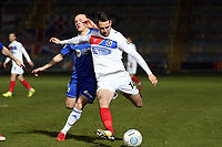 Daniel Sparkes of Dagenham  and Matty Kosylo of Halifax Town during FC Halifax Town vs Dagenham & Redbridge, Vanarama National League Football at The Shay on 13th March 2018