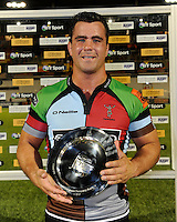 20130803 Copyright onEdition 2013 ©<br /> Free for editorial use image, please credit: onEdition.<br /> <br /> Dave Ward, the captain of Harlequins 7s, with the trophy for winning Group C of the J.P. Morgan Asset Management Premiership Rugby 7s Series.<br /> <br /> The J.P. Morgan Asset Management Premiership Rugby 7s Series kicks off for the fourth season on Thursday 1st August with Pool A at Kingsholm, Gloucester with Pool B being played at Franklin's Gardens, Northampton on Friday 2nd August, Pool C at Allianz Park, Saracens home ground, on Saturday 3rd August and the Final being played at The Recreation Ground, Bath on Friday 9th August. The innovative tournament, which involves all 12 Premiership Rugby clubs, offers a fantastic platform for some of the country's finest young athletes to be exposed to the excitement, pressures and skills required to compete at an elite level.<br /> <br /> The 12 Premiership Rugby clubs are divided into three groups for the tournament, with the winner and runner up of each regional event going through to the Final. There are six games each evening, with each match consisting of two 7 minute halves with a 2 minute break at half time.<br /> <br /> For additional images please go to: http://www.w-w-i.com/jp_morgan_premiership_sevens/<br /> <br /> For press contacts contact: Beth Begg at brandRapport on D: +44 (0)20 7932 5813 M: +44 (0)7900 88231 E: BBegg@brand-rapport.com<br /> <br /> If you require a higher resolution image or you have any other onEdition photographic enquiries, please contact onEdition on 0845 900 2 900 or email info@onEdition.com<br /> This image is copyright the onEdition 2013©.<br /> <br /> This image has been supplied by onEdition and must be credited onEdition. The author is asserting his full Moral rights in relation to the publication of this image. Rights for onward transmission of any image or file is not granted or implied. Changing or deleting Copyright information is illegal as specified in the Copyrig