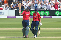 Alastair Cook of Essex celebrates scoring a century, 100 runs during Essex Eagles vs Notts Outlaws, Royal London One-Day Cup Semi-Final Cricket at The Cloudfm County Ground on 16th June 2017