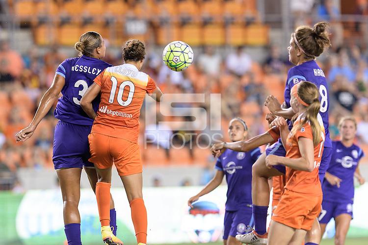 Houston, TX - Saturday Sept. 03, 2016: Toni Pressley, Carli Lloyd during a regular season National Women's Soccer League (NWSL) match between the Houston Dash and the Orlando Pride at BBVA Compass Stadium.