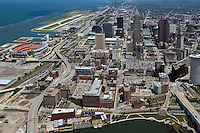 aerial view above downtown Cleveland Ohio stadium Burke Lakefront airport
