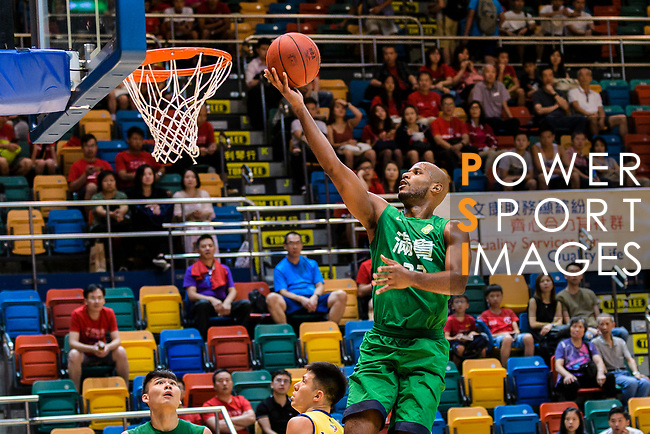 Austin Bryant M #23 of Tycoon Basketball Team goes to the basket against the Winling during the Hong Kong Basketball League playoff game between Winling and Tycoon at Queen Elizabeth Stadium on July 24, 2018 in Hong Kong. Photo by Marcio Rodrigo Machado / Power Sport Images