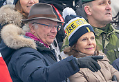10th February 2019, Are, Sweden; Alpine skiing: Combination, ladies: downhill; King Carl Gustav of Sweden watches the race next to his wife Queen Silvia.