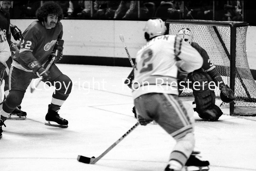Seals vs Detroit Red Wings..Seals Rick Hampton blocked by #22 Wings  Larry Giroux or Nelson Pyatt and goalie #30 Bill Richardson. (1975 photo/Ron Riesterer)
