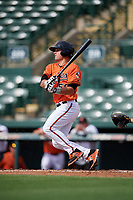 Baltimore Orioles left fielder Trevor Craport (59) hits an infield single during a Florida Instructional League game against the Pittsburgh Pirates on September 22, 2018 at Ed Smith Stadium in Sarasota, Florida.  (Mike Janes/Four Seam Images)