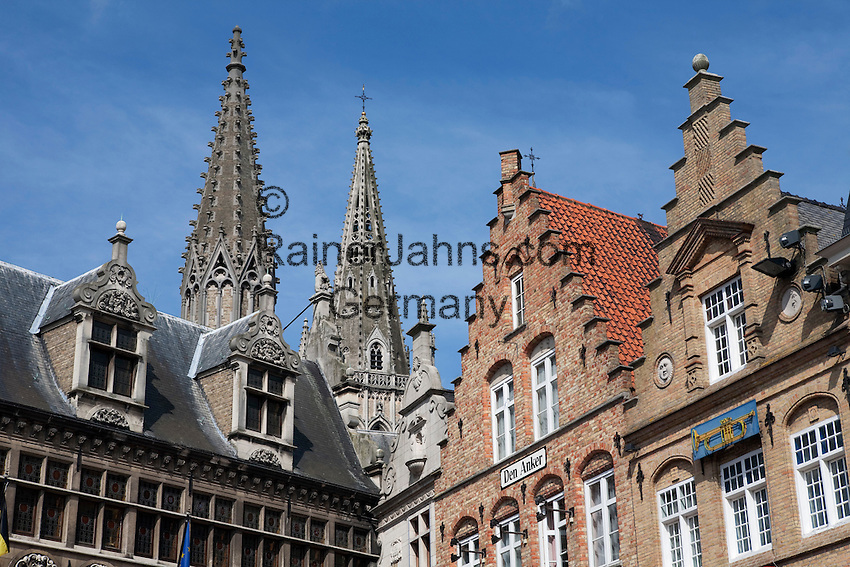 Belgium, West Vlaanderen, Ypres: Detail of the Cloth Hall and Flemish gabled houses in the Grote Markt