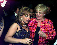 Paula Jones meets Lucianne Goldberg during one of the parties following  the White House Correspondents Dinner in Washington, DC on April 25, 1998.  <br /> Credit: Ron Sachs / CNP /MediaPunch
