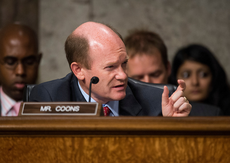 "UNITED STATES - JULY 26: Sen. Chris Coons, D-Del., participates in the Senate Foreign Relations Committee markup of  the ""Convention on the Rights of Persons with Disabilities"" on Thursday, July 26, 2012. (Photo By Bill Clark/CQ Roll Call)"