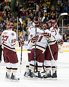 Paul Carey (BC - 22), Edwin Shea (BC - 8), Pat Mullane (BC - 11), Jimmy Hayes (BC - 10) - The Boston College Eagles defeated the Harvard University Crimson 6-0 on Monday, February 1, 2010, in the first round of the 2010 Beanpot at the TD Garden in Boston, Massachusetts.