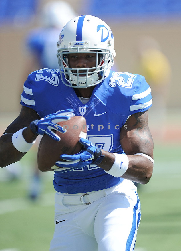 Duke Blue Devils DeVon Edwards (27) during a game against the Tulane Green Wave on September 20, 2014 at Wallace Wade Stadium in Durham, NC. Duke beat Tulane 47-13.
