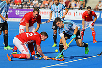 Michael Hoare of England competes with Gonzalo Peillat of Argentina during the Hockey World League Semi-Final match between England and Argentina at the Olympic Park, London, England on 18 June 2017. Photo by Steve McCarthy.