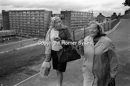 Derry Northern Ireland Londonderry. 1979. Protestant ladies, who have been moved out of their homes in the Bogside.