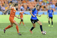 Houston, TX - Sunday August 13, 2017: Cami Privett and Katie Bowen during a regular season National Women's Soccer League (NWSL) match between the Houston Dash and FC Kansas City at BBVA Compass Stadium.