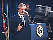 United States President Jimmy Carter holds a press conference at the White House in Washington, DC on February 13, 1980.<br />