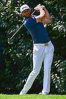 Dustin Johnson (USA) watches his tee shot on 2 during round 1 of the World Golf Championships, Mexico, Club De Golf Chapultepec, Mexico City, Mexico. 3/2/2017.<br /> Picture: Golffile | Ken Murray<br /> <br /> <br /> All photo usage must carry mandatory copyright credit (&copy; Golffile | Ken Murray)