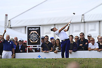 Matteo Manassero (ITA) on the 1st tee during Round 2 of the KLM Open at Kennemer Golf &amp; Country Club on Friday 12th September 2014.<br /> Picture:  Thos Caffrey / www.golffile