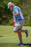 Caddie Damon Green performs his birdie dance after Zach Johnson (USA) sunk his birdie putt on 2 during Round 4 of the Valero Texas Open, AT&amp;T Oaks Course, TPC San Antonio, San Antonio, Texas, USA. 4/22/2018.<br /> Picture: Golffile | Ken Murray<br /> <br /> <br /> All photo usage must carry mandatory copyright credit (&copy; Golffile | Ken Murray)