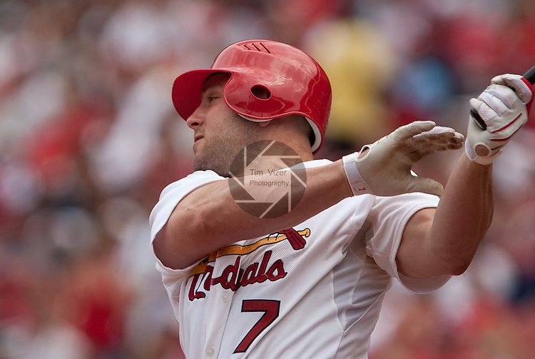 July 4, 2010          St. Louis Cardinals left fielder Matt Holliday (7) is one of the five Cardinals players who was selected to play in the All-Star Game.  The St. Louis Cardinals defeated the Milwaukee Brewers 7-1 in the final game of a four-game homestand at Busch Stadium in downtown St. Louis, MO on Sunday July 4, 2010.